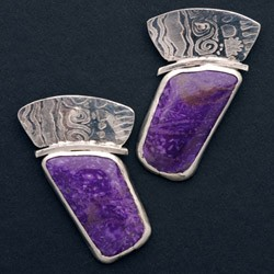 Rectangular Sugilite Earrings