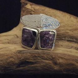 Rounded Square Charoite Earrings